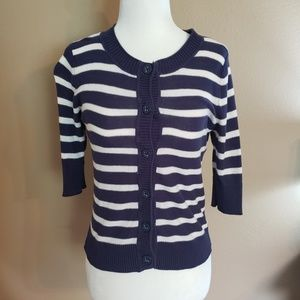 Mossimo Supply co blue and white striped cardigan